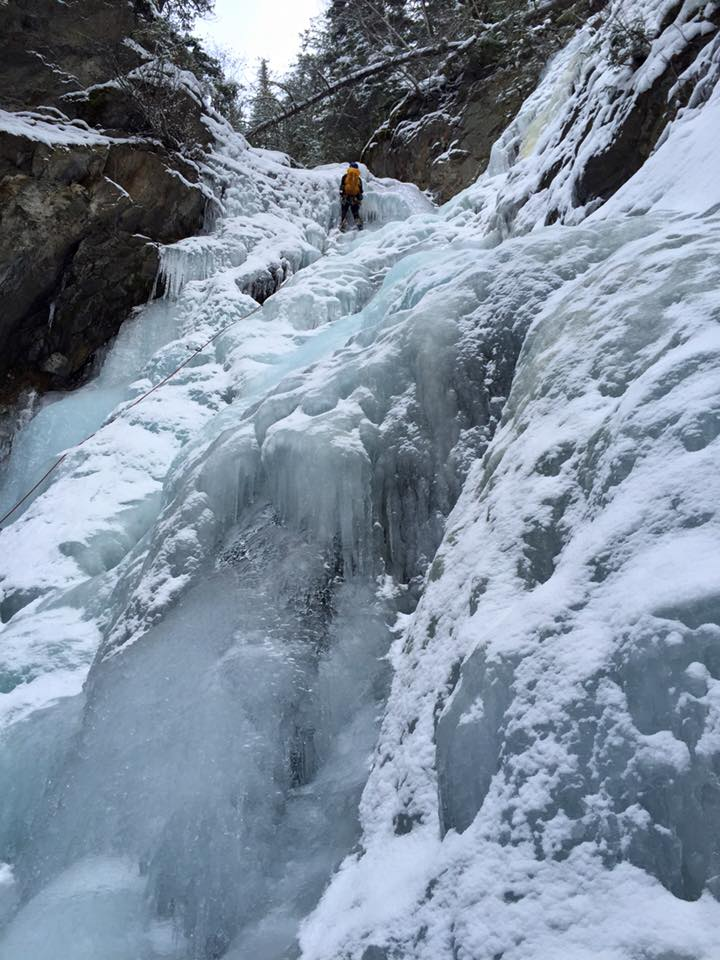 An interesting 'bulging' waterfall ice structure in Lillooet BC.