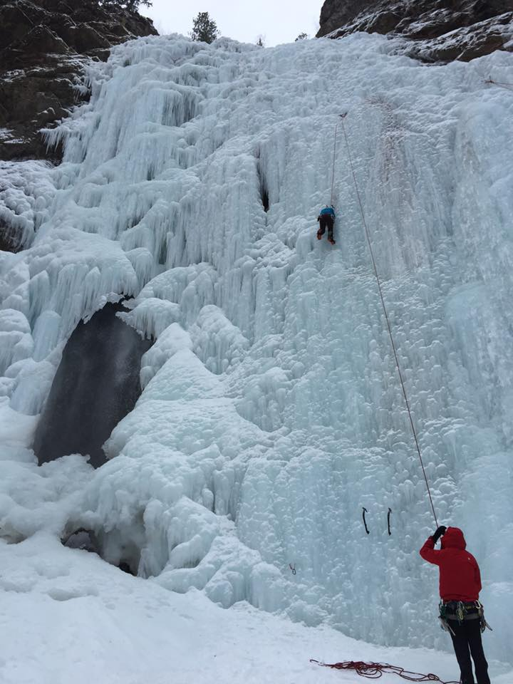 Waterfall ice in Lillooet BC.